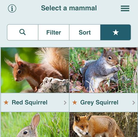 Mammal Tracker app favourites