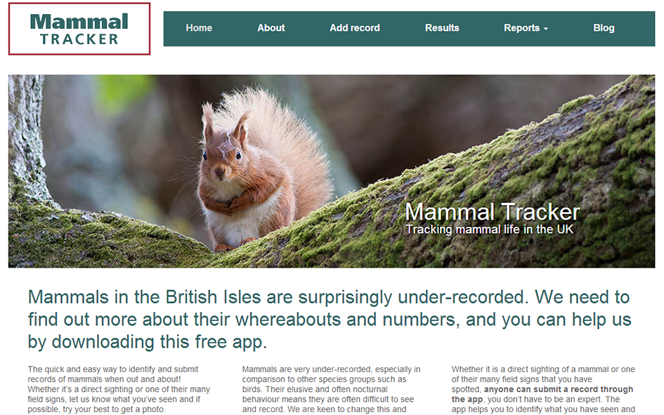 Mammal Tracker website screen grab