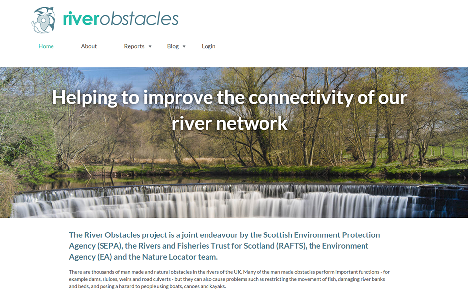 River obstacles website homepage