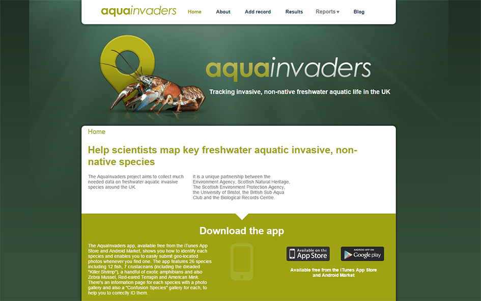 AquaInvaders website home page