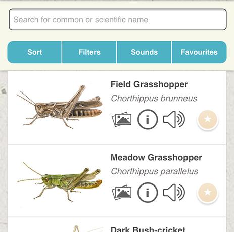 Grasshopper app - species listing