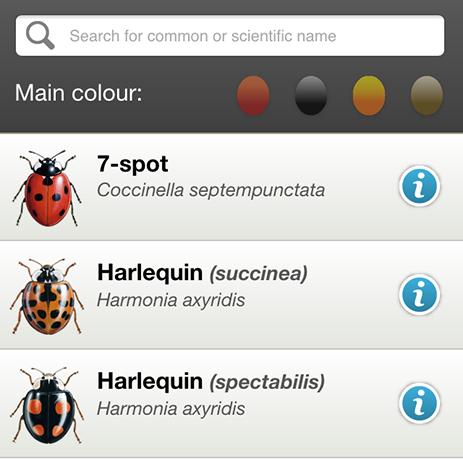 Ladybird app species list page
