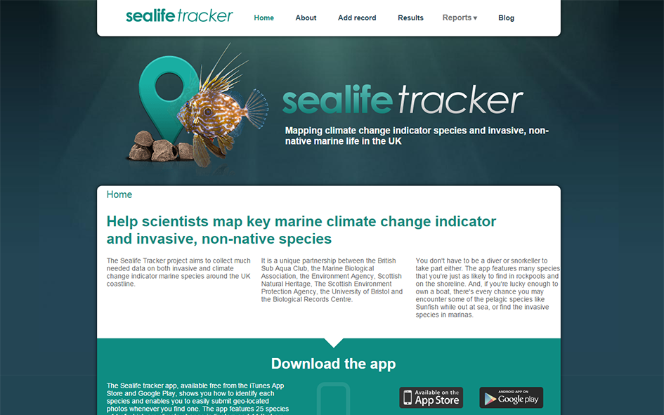 Image of Sealife Tracker homepage