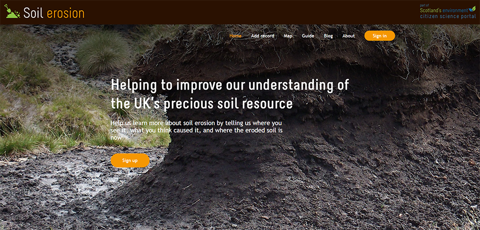 SEWeb Soil Erosion Project website homepage