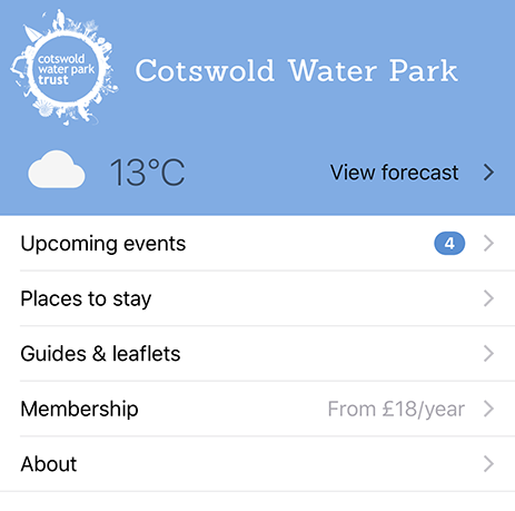 Home page of the Cotswold Water Park app