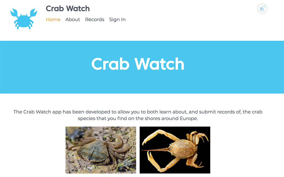 The Coreo based website for the Crab Watch citizen science project