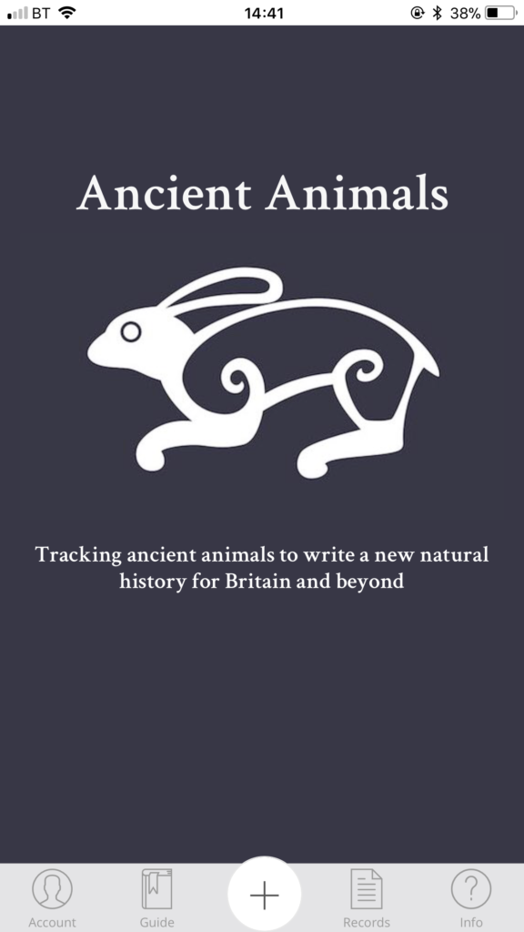 Ancient Animals app home page