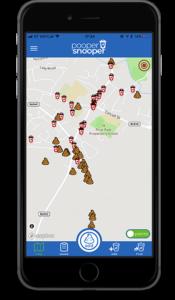 Pooper Snooper App showing bins and poop locations - Natural Apptitude