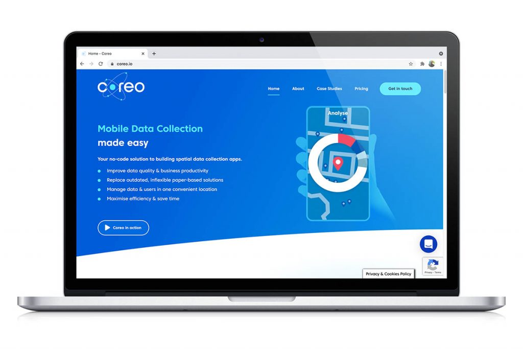 Coreo app building platform home page. Software for citizen science projects.